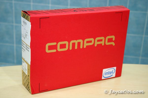 compaq presario c700 laptop. Red Compaq box from Singapore