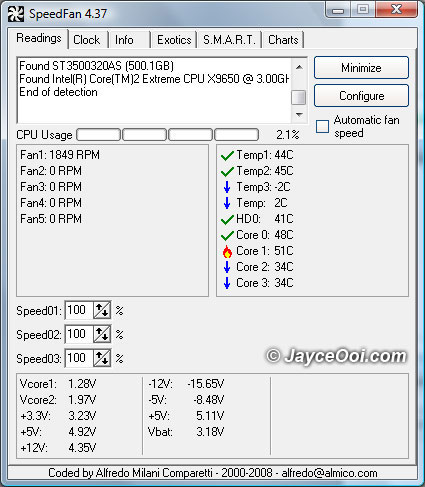 Download SpeedFan ~ a freeware program that monitors voltages, fan speeds and temperatures in computer