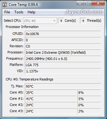 Core Temp ~ another program to monitor CPU temperature