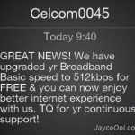Celcom Broadband Basic upgraded to 512kbps
