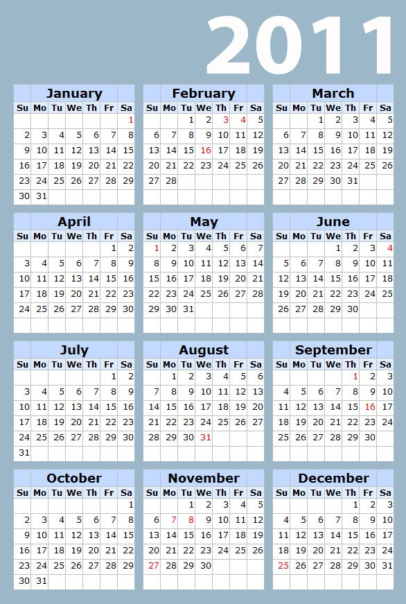 And it's time to download free 2011 calendar now.