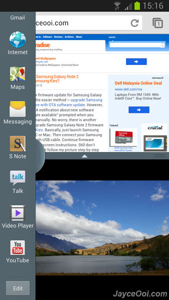 Samsung Galaxy S3 Multi Window