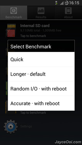 A1 SD Bench ~ free Android benchmark tool for SD card, RAM