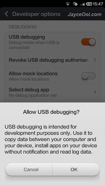 How to enable USB debugging mode on Redmi 1S? - JayceOoi com
